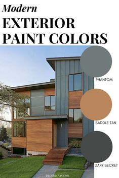 Modern Exterior Paint Colors Timeless modern paint colors for your exterior. Paint your home with confidence using these modern paint color combinations. Exterior Color Palette, Exterior Paint Schemes, Exterior Paint Colors For House, Cabin Exterior Colors, Exterior Paint Color Combinations, Grey Exterior Houses, Exterior House Paints, Outside House Paint Colors, Color Combinations Home