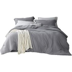 Twin Bed Sets With Comforter Grey Comforter King, Comforter Sale, King Bedding Sets, Neutral Bed Linen, Ruffle Bedding, Dorm Bedding, White Pillows, Duvet Cover Sets, Luxury Bedding