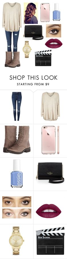 """""""Movies w/Friends"""" by amarianamichelle ❤ liked on Polyvore featuring Miss Selfridge, River Island, Steve Madden, Essie, Kate Spade, Charlotte Tilbury and movies"""