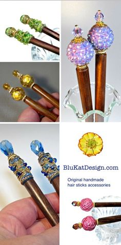 Handmade hair sticks, accessories for long hair. BluKatDesign on Etsy is not only your place for upcycled jewelry, necklaces and earrings but also the best place to find colorful hair sticks...