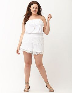 Frilly lace refreshes your summer aesthetic in this charming tube-top romper cover-up from 6th & Lane. Defined with a smocked waist to highlight hourglass curves, the lace shorts are fully lined and the perfect length to take you from poolside to boardwalk and anywhere your Summer goes. Easy, breezy pull-on tube top with elastic and drawstring closure. lanebryant.com