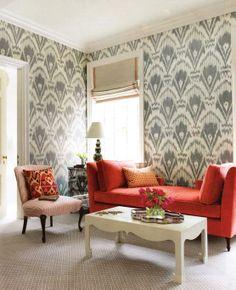 Ikat Wallpaper Living Room