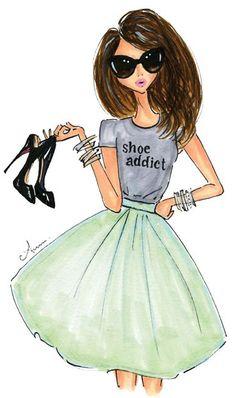 ILY Couture, Shoe Addict print by anum tariq - fashion illustration. Fashion Art, Girl Fashion, Fashion Design, Fashion Shoes, Fashion Rocks, Trendy Fashion, Moda Fashion, Fashion Addict, Fashion Ideas