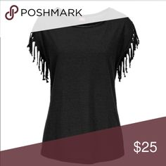 Trendy Top with Fringe sleeves Adorable top. Dress it up, dress it down, wear with shorts or wear your favorite skinny jeans. It's very functional. Can be worn with a scarf around the neck or cute chain necklace. Very soft material. Tshirt material. Can be worn as a large or XL depending on what type of fit you like. very versatile. Price is firm unless bundled. Tops