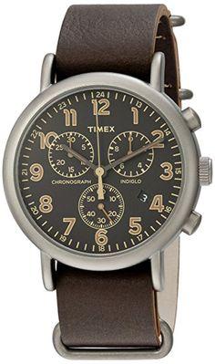 7a05b4add1f7 Amazon.com  Timex Men s TW2P85400 Weekender Chrono Oversize  Titanium-Tone Dark Brown Leather Slip-Thru Strap Watch  Watches