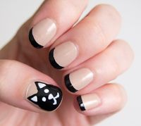 These nails are so cool for Halloween. I would do all 5 finger nails the same.