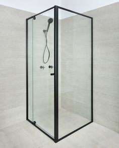 Because black will always be the new black, the Optima, one of our most popular shower screen designs, is now available in matt black. Next Bathroom, Bathroom Renos, Bathroom Renovations, Bathroom Ideas, Corner Shower Doors, Framed Shower Door, Black Shower, Pivot Doors, Shower Base