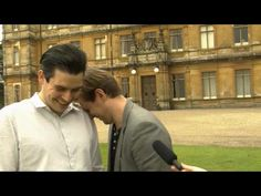 Rob James Collier and Allen Leech laughing at nothing, through their interview. ! <3