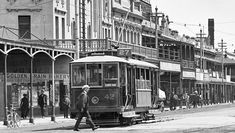 Port Adelaide had a tram system from 1917 to Photo is of A class No. 42 in St Vincent's Parade, Port Adelaide in the City Of Adelaide, Saint Vincent, 1920s, Transportation, Saints, Street View, Black And White, Photos, Santos