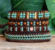 Turquoise Bronze Beaded Wrap Bracelet, Beaded Leather Wrap, Tila Super Duo Tile Seed Bead Crystal Bracelet, Bohemian Wrap Bracelet