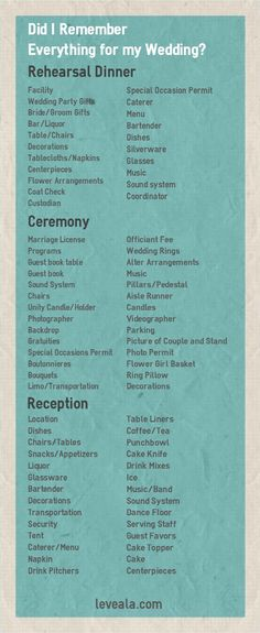Did I Remember Everything for My Wedding? Wedding Checklist www.doamore.com…