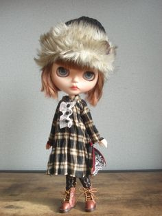 ◆ Blythe-chan Outfit Shuku Kusu ☆ One piece and knit cap set ◆ _ image 5 Favori, Blythe Dolls, Hipster, One Piece, Disney Princess, Knitting, Disney Characters, Outfits, Image