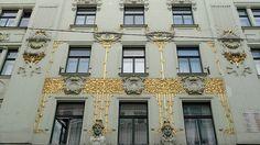 Detail of ornamentation on facade of Fleischmarkt 14, Vienna, Austria