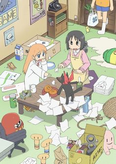Nichijou - Life with an emotional robot, a talking cat, an genius and other strange people may sound weird, but it's totally normal for Yuko Aioi. Nichijou, Anime Manga, Anime Art, Robot, Kyoto Animation, Otaku, Online Anime, Ordinary Lives, Ghost In The Shell