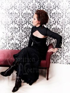 Victorian pinstripe shrug with long sleeves by RomanticaNocturnis, $125.00    You can visit their online store here:  http://www.etsy.com/shop/RomanticaNocturnis?ref=seller_info