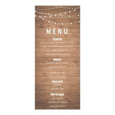 Rustic Wedding Menu Wood grain and string lights rustic menu card
