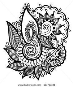 black line art ornate flower design collection, ukrainian ethnic style, autotrace of hand drawing, raster version