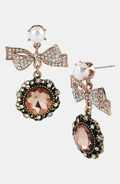 Betsey Johnson 'Vintage Bow' Framed Crystal Drop Earrings available at #Nordstrom
