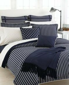 """Ralph Lauren """"Barrymore"""" Duvet Cover King Barrymore Stripe by Ralph Lauren """"Barrymore"""" Duvet Cover, King Barrymore Stripe. $379.00. Machine Wash easy care. 100% Cotton. Measures 110x96. Give your bedroom a retro makeover with the Lauren Ralph Lauren Barrymore bedding collection. A clean navy blue and white palette complements the simple stripes and deco dot patterns. Woven of luxurious cotton sateen, this collection is the ultimate mix of style and comfort"""