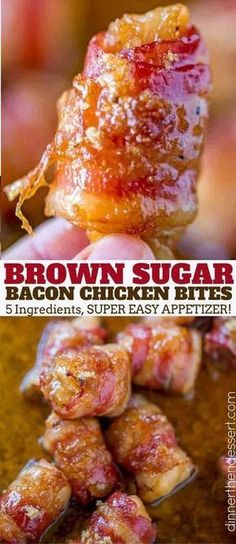 Bacon Brown Sugar Chicken Bites are the perfect salty, sticky, sweet and crispy . Bacon Brown Sugar Chicken Bites are the perfect salty, sticky, sweet and crispy appetizer for the holidays and game day with just five ingredients! Finger Food Appetizers, Yummy Appetizers, Appetizers For Party, Appetizer Recipes, Chicken Appetizers, Simple Appetizers, Recipes Dinner, Snack Recipes, Brown Sugar Chicken