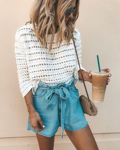 white crew-neck long-sleeved shirt and blue chambray skirt. summer outfits - New Hair Style Mode Outfits, Trendy Outfits, Fashion Outfits, Fashion Trends, Fashion Ideas, Holiday Outfits For Teens, Fashionista Trends, Looks Chic, Looks Style