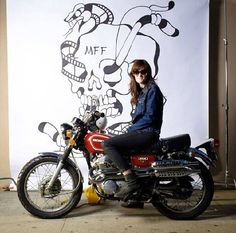 Kim Kenney of the Miss-fires in NYC atop her lil Honda CB Scrambler, one of my favorite little old bikes.