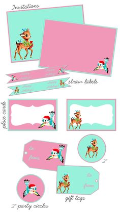 Aqua and Pink Vintage, Complete Party Pack