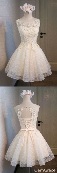 Lace and tulle short homecoming party dress, custom by GemGrace #homecomingdresses