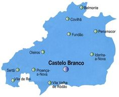 Mapa do Distrito de Castelo Branco, Portugal
