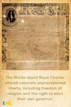 #OnThisDay in 1663, King Charles II of England issued a charter establishing Rhode Island as a colony! #TBT American Symbols, American History, Ancient Greece, Ancient Egypt, Charles Ii Of England, Number Grid, Countries Of Asia, Primary And Secondary Sources, Royal Charter