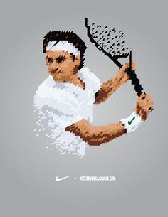 NIKE Tennis Shirt/Roger Federer (by Victor van Gaasbeek of Rotterdam, Nl)