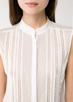 Sleeveless chiffon top with decorative trims and openwork details. Lace Tops, Chiffon Tops, Iranian Women Fashion, Blouse Designs, Blouses For Women, Ideias Fashion, Fashion Dresses, Clothes, White Rave Outfits