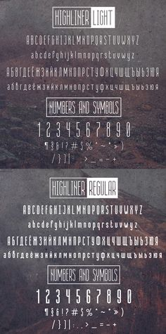 Highliner Font Letter and Numbers