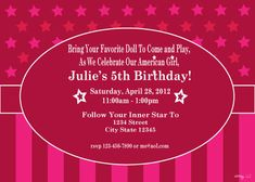 American Girl Themed Printable Birthday Invitation by whimsyllc, $15.00