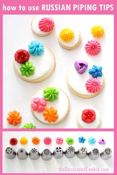 Russian piping tips: How to use decorating tips on cookies and cupcakes. How to use the Russian piping tips (the large flower decorating tips) with buttercream frosting to decorate cupcakes or cookies. Video how-tos included. Russian Decorating Tips, Cake Decorating Tutorials, Cookie Decorating, Cookie Tutorials, Decorating Ideas, Craft Ideas, Mothers Day Desserts, Mothers Day Cupcakes, Flower Cookies