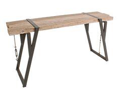 Consola de madera de abeto y hierro Blocks - 76x153 cm
