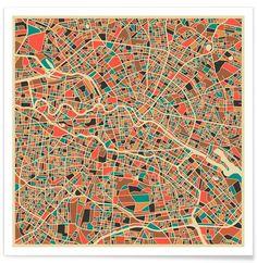 Berlin als Premium Poster von Jazzberry Blue   JUNIQE