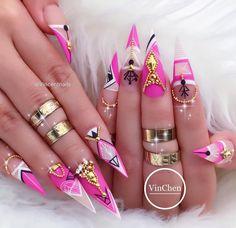 "5,275 Likes, 91 Comments - VinChen Tran (@vincentnails) on Instagram: ""Pink &White & BLING #vietteam #handpaintedsigns #freestylenails #artlover #uglyducklingnails…"""