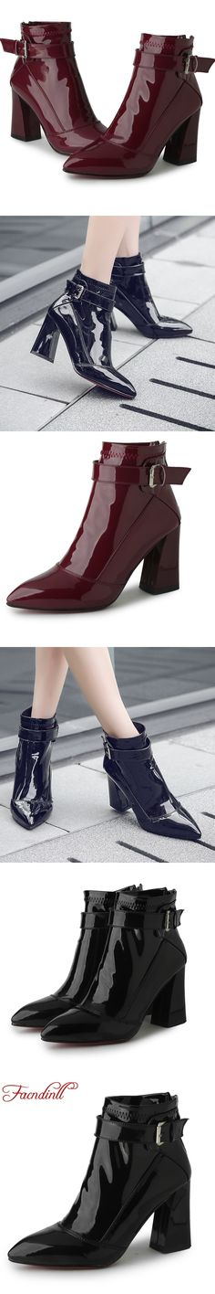 539253842f970 2017 new autumn woman ankle boots high square heel wine red black pointed  toe casual comfortable