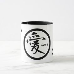 Ringer love mugs with black Japanese kanji  $18.95  by 522Motifs  - cyo diy customize personalize unique