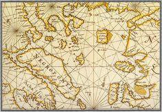 North Aegean Sea and Alonissos Ancient map-(F. M Levanto 1664)
