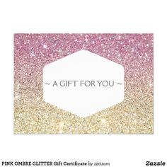 PINK OMBRE GLITTER Gift Certificate Card Coordinates with the ELEGANT WHITE EMBLEM ON PINK OMBRE GLITTER Business Card Template by 1201AM. These gift certificates feature a pink and gold glittery background image for beautiful visual detailing. The gift message is customizable, and the gift certificate details can be customized on the backside. Printed on invitation-quality card stock and comes with standard white envelopes. Perfect for salons, makeup artists, hairstylists, boutiques and…