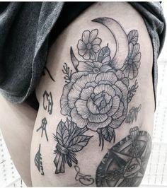 Flower tattoo, compass tattoo, Lord of the rings tattoo