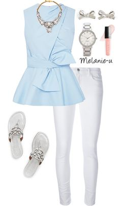 Casual-Dressy/ Spring-Fall/ Sky blue peplum top with bow detail, white skinny jeans, silver Tory Burch sandals, silver watch, statement necklace, silver bow earrings
