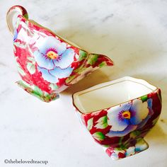Sugar Spoon, Sugar Bowl, Cream And Sugar, Pansies, Red And Blue, Tea Cups, My Etsy Shop, Pottery, Teapots