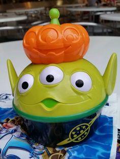 TDR Japan Tokyo Disney Halloween Pumpkin LGM Little Green Men Snack Case Bucket | eBay
