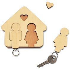 Schlüsselbrett Home Sweet Home, Mann und Frau - designimdorf