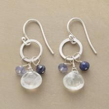 A pair of sterling hoop and gemstone dangle earrings that convey a cool sense of grace.