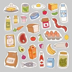 by Vectorssstocker Everyday food icons patchwork. Set of common goods and everyday products we get by shopping in supermarket. Patch food breakfast o Food Stickers, Kawaii Stickers, Journal Stickers, Printable Stickers, Cute Stickers, Planner Stickers, Preschool Crafts, Crafts For Kids, Food Icons