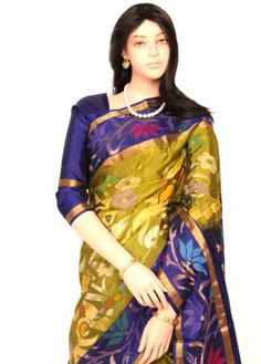 Green Gram Colored Embossed Golden and Silver Jari Floral Designed Body with MS Blue Colored Floral Bordered Stylish Fancy Original Uppada Pure Silk Saree. http://www.shreedevitextile.com/women/sarees/silk-saree/shree-devi/green-gram-colored-original-uppada-pure-silk-saree